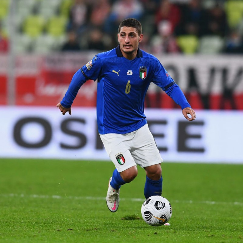 Verratti's Italy Match-Issued Shirt, 2020 - Signed by the Players