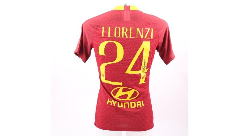 Florenzi's Worn and Signed Shirt, Roma-Genoa 2018