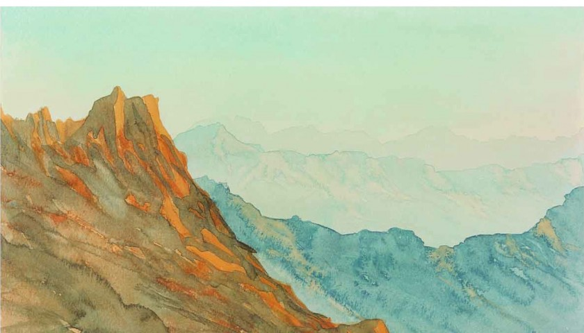 Signed Lithograph 'Overlooking Wadi Arkham: Kingdom of Saudi Arabia' by HRH The Prince of Wales