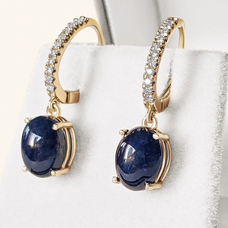 Blue Oval Cabochon Sapphire and Diamonds Earrings sent in Gold 14K