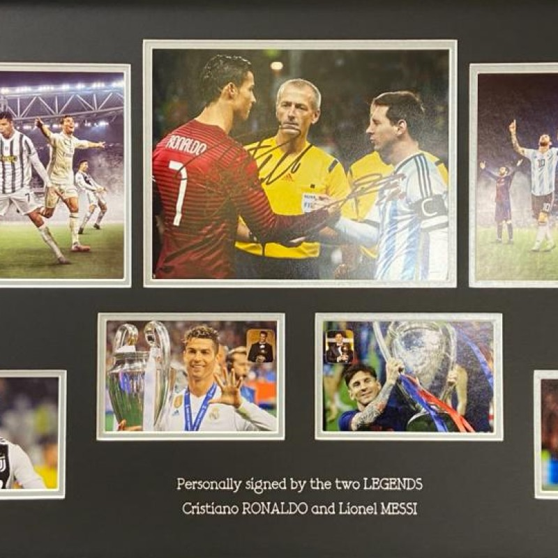 Lionel Messi And Cristiano Ronaldo Signed Photo Display
