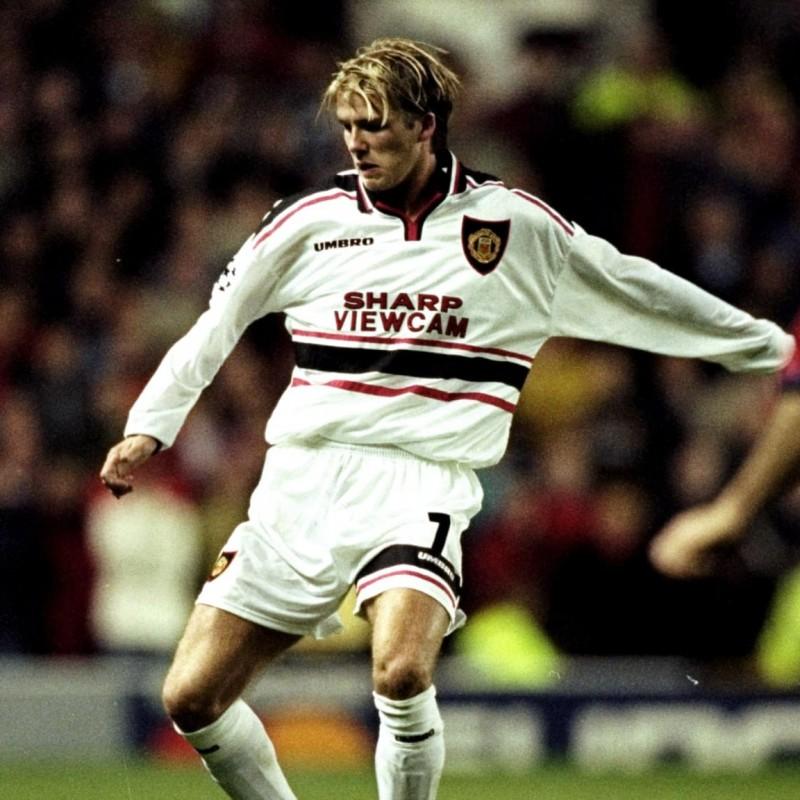 Beckham's Match-Issued Signed Shirt, Barcelona-Man United 1998
