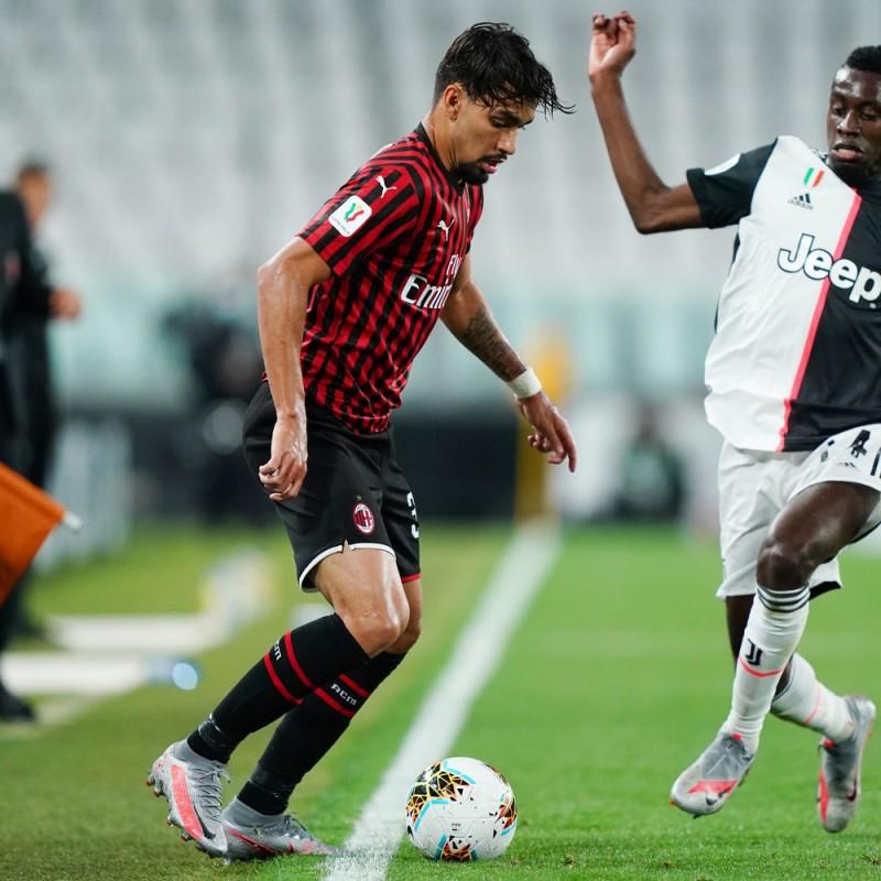 "Paqueta's Worn and Signed Shirt, Juventus-Milan - ""Andrà Tutto Bene"""
