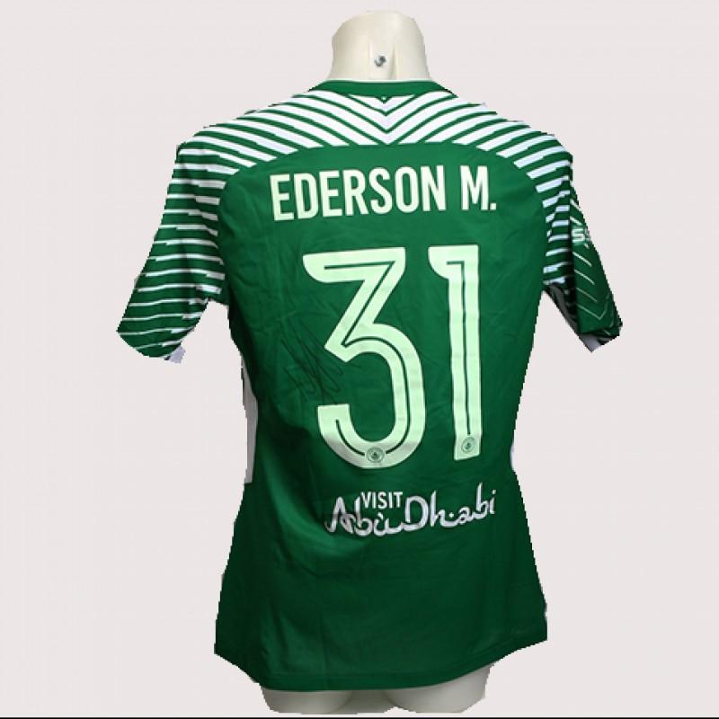Ederson Match-Worn Signed Manchester Derby Shirt