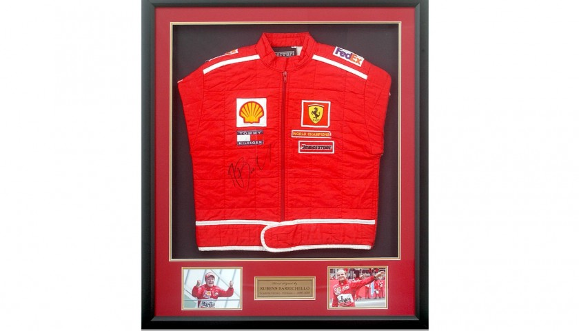 Rubens Barrichello Hand Signed Ferrari Race Jacket