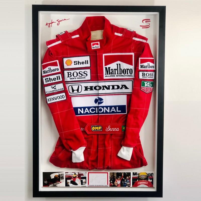Ayrton Senna Signed Race Suit Display