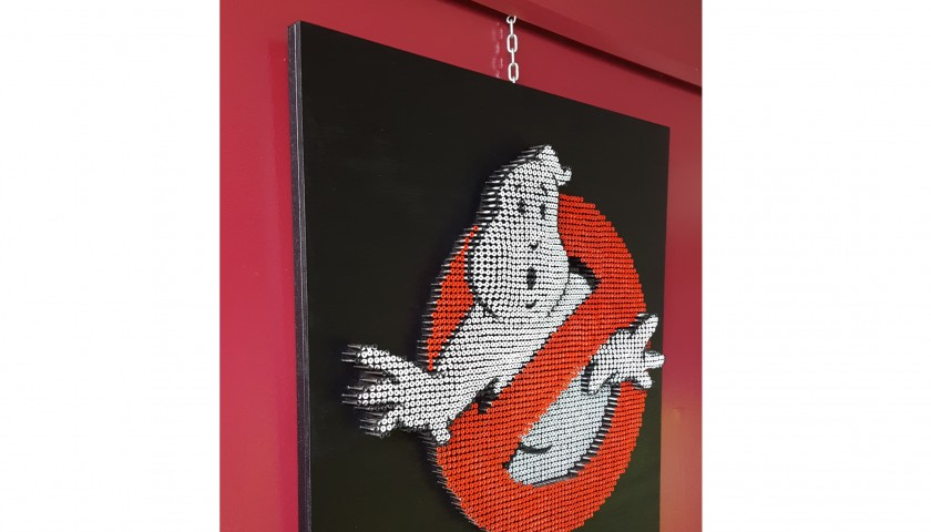 """""""Ghostbusters """" - acrylic on 4000 self-tapping screws - Drill Monkeys Art Duo - 80x80x7 cm"""