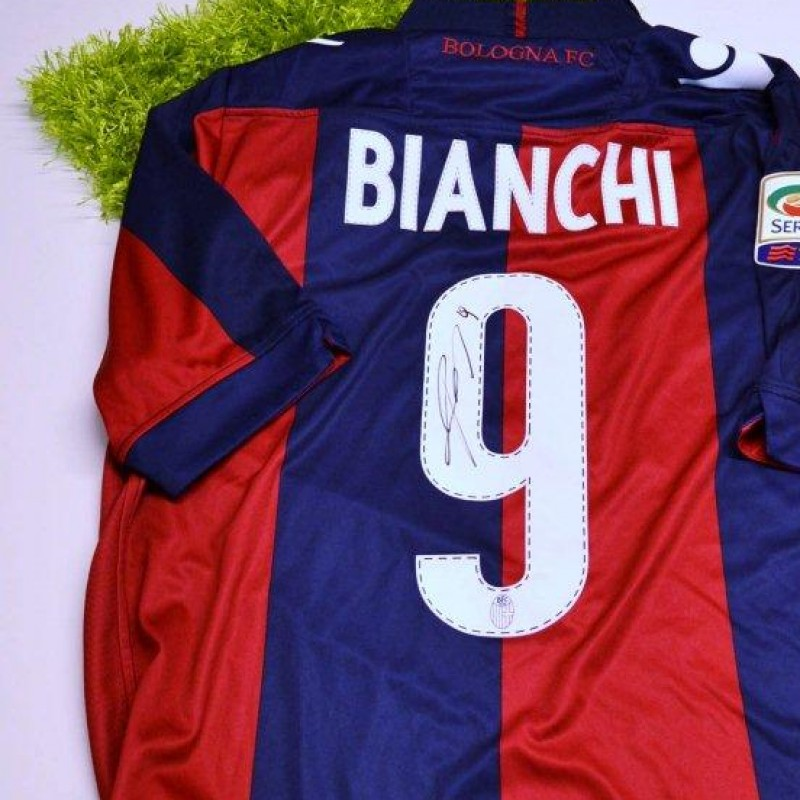 Bologna match issued shirt, Bianchi, Serie A 2013/2014 - signed