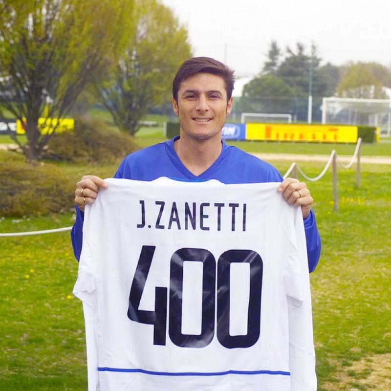 Zanetti's Signed Celebratory 400th Game Inter Shirt
