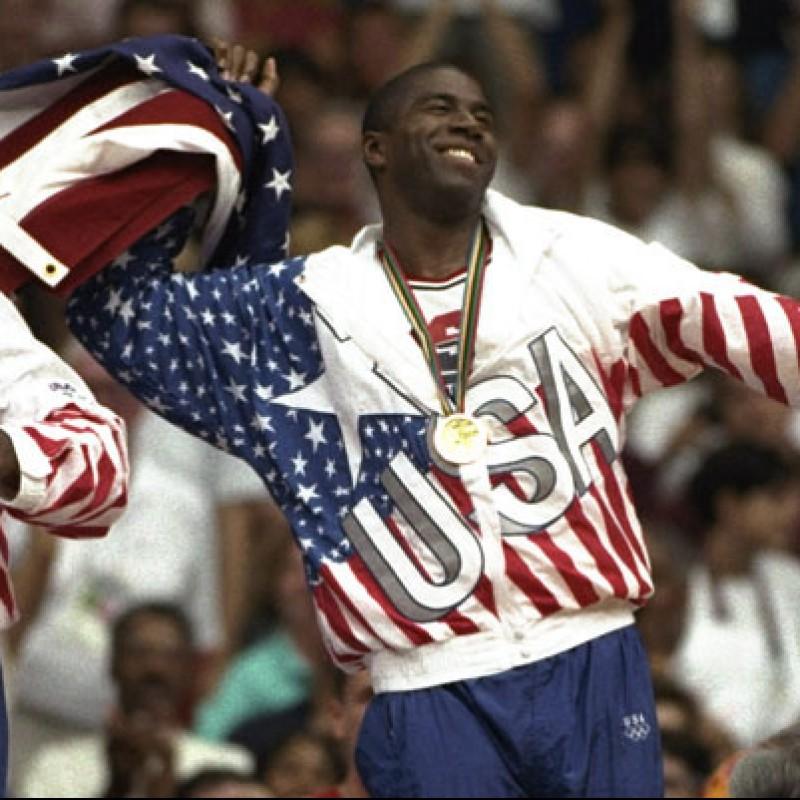 Magic Johnson Signed Replica Gold Medal, 1992 Olympics