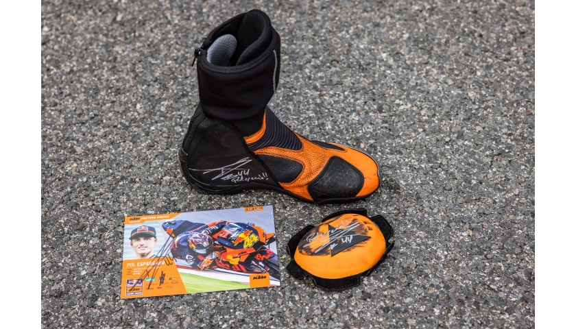 Signed Pol Espargaro Boot, Slider & Signature Card