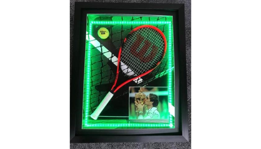 Roger Federer Signed and Framed LED Tennis Display
