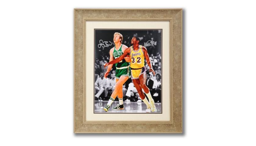 Larry Bird vs Magic Johnson Autographed Photo