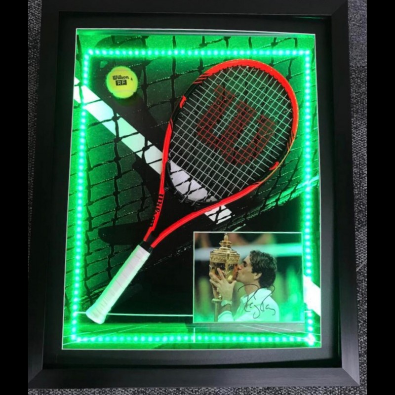 Photo and Racket Display Signed by Roger Federer