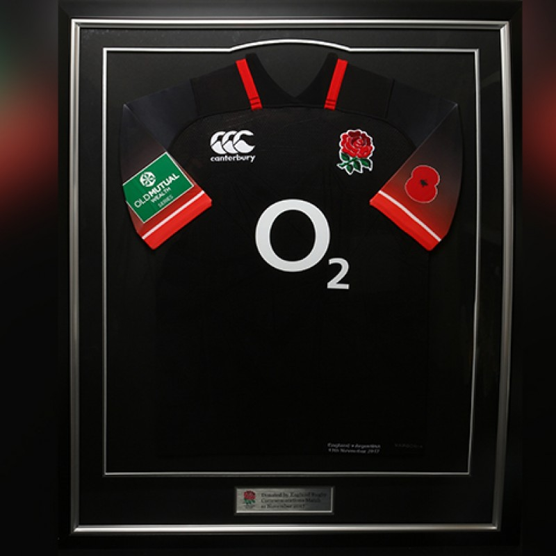 Framed England vs. Argentina Rugby Shirt with Remembrance Poppy