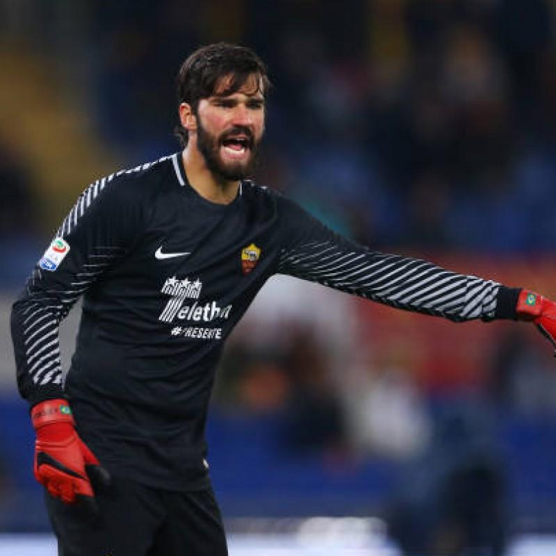 Allison's Match-Worn Roma-Cagliari Shirt, Special Sponsor Telethon