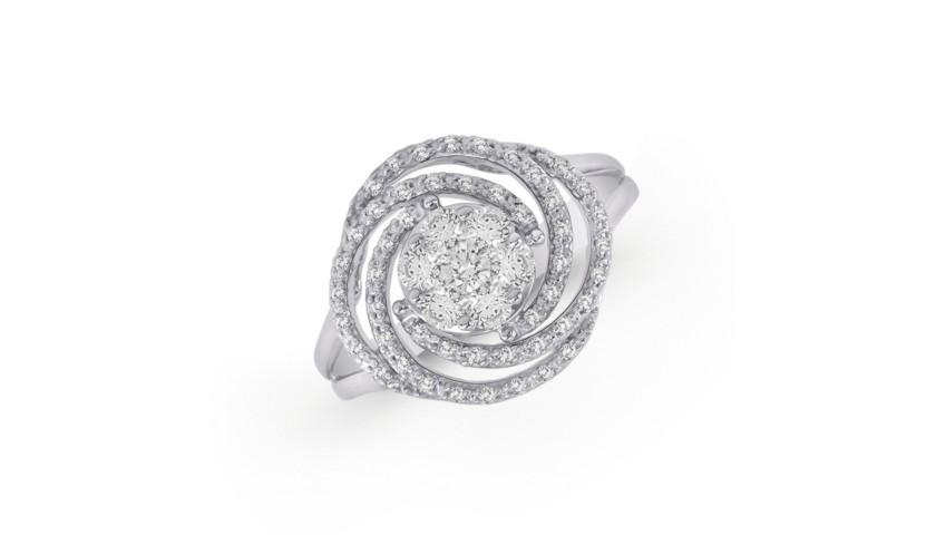 14KT White Gold Swirl Diamond Ring