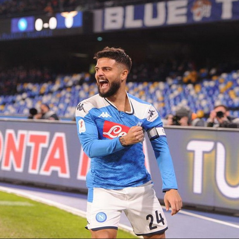 Insigne's Napoli Worn and Signed Match Shirt, Coppa Italia 2019/20
