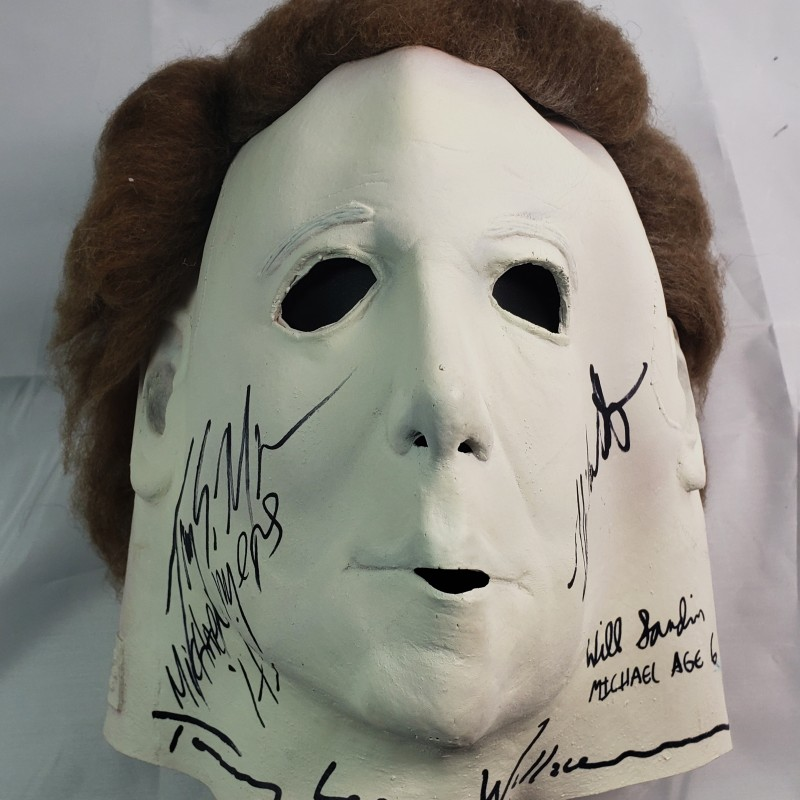 """Michael Myers """"Halloween"""" Mask Hand Signed by the 4 Actors who Played Him"""
