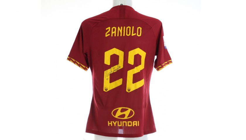 Zaniolo's Official Roma Signed Match Shirt, 2019/20