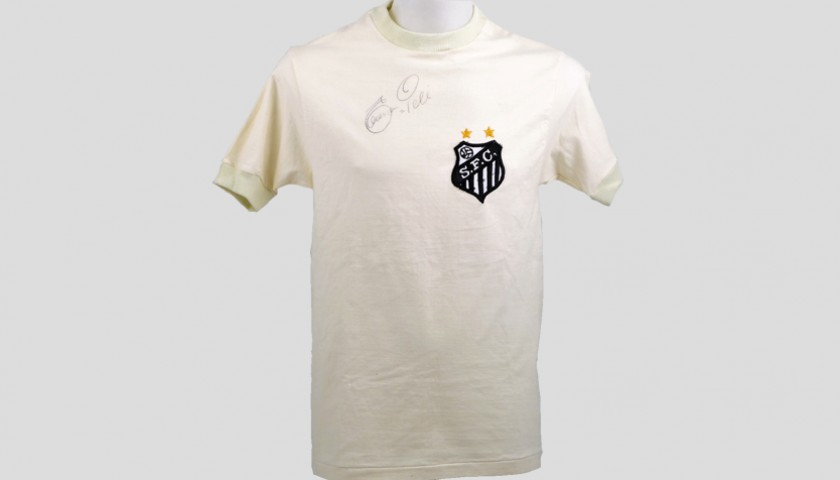 Pele's Signed Match-Issued/Worn Santos Shirt, 1971/72