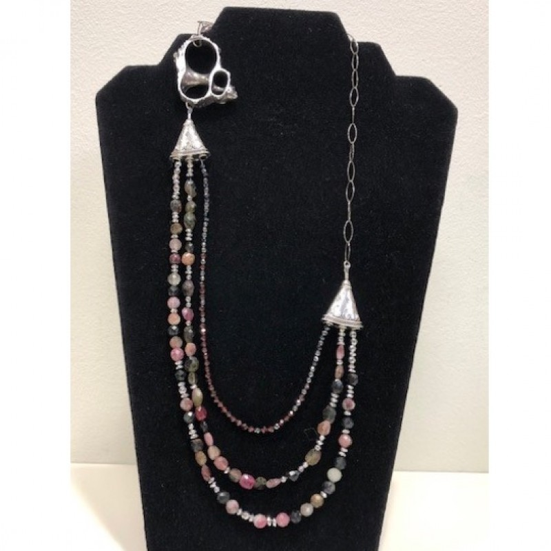 Tourmaline and Garnet Triple-Strand Necklace