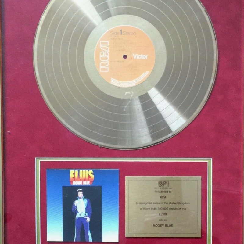 Elvis Presley BPI Gold Disc Award