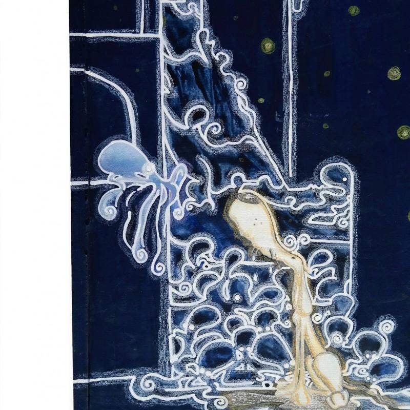 """Invasione degli ultrapolpi"" - acrylic, china and pencil on wood panel by Roberta Ragona - 33x24 cm"