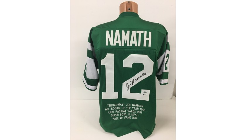 Broadway Joe Namath Hand Signed New York Jets Stats Jersey