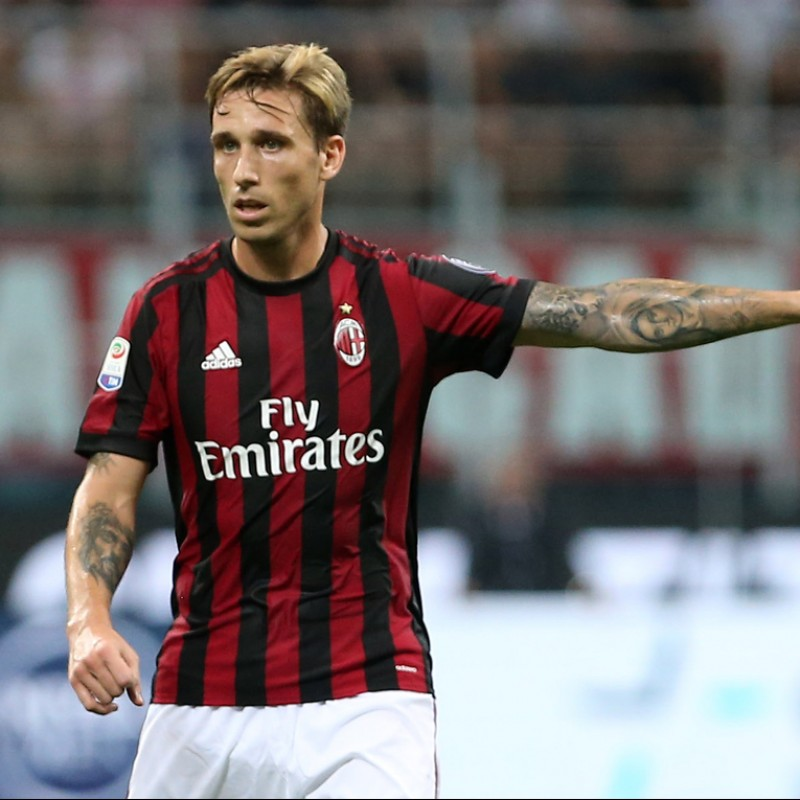 Biglia's Match-Issued Milan-Inter Shirt with Special Patch
