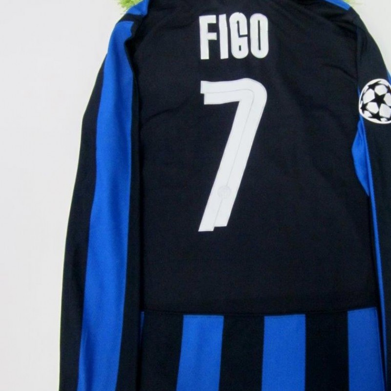 Figo Inter match issued/worn shirt, Champions League 2007/2008
