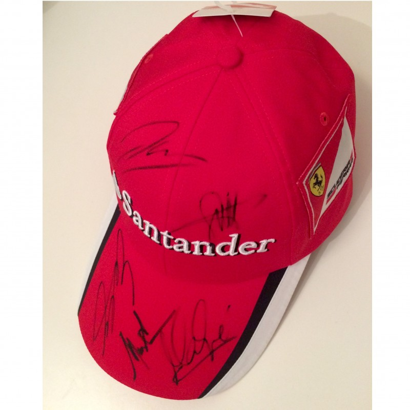 Official Ferrari Team Cap, signed by Vettel, Raikkonen and other Ferrari drivers and Team Principal
