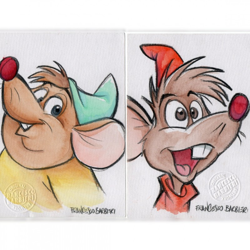 Sketches of Jaq and Gus (Cinderella) by Francesco Barbieri
