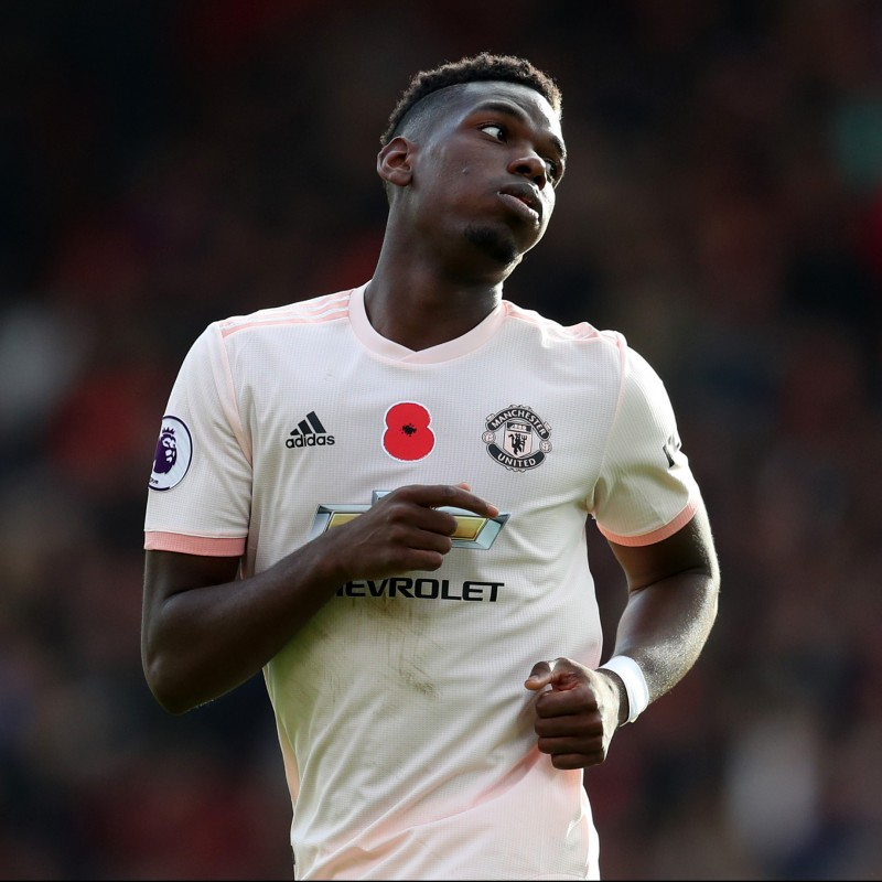 Pogba's Manchester Utd Match-Issue/Worn Poppy Shirt, 2018