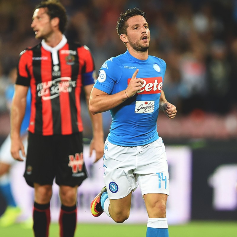 Mertens' Signed Friendly Match-Issued Napoli-Nice Shirt with 90th Anniversary Patch