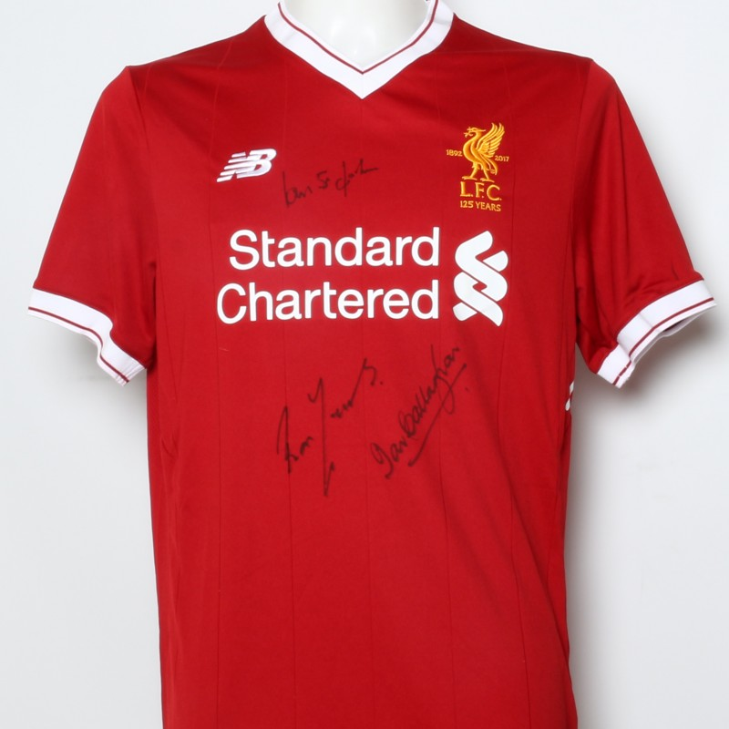 """LFC 125 Shirt """"Shankly's Greats"""" Signed by Callaghan, Yeats and St. John"""