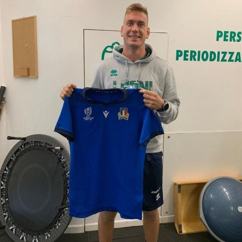 Ruzza's Italy Match-Issued and Signed Rugby Shirt, Italy-New Zealand 2019