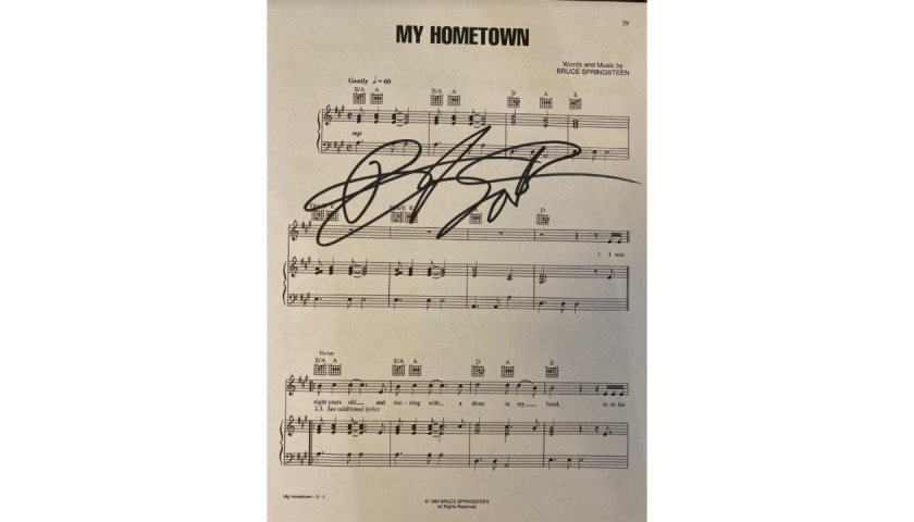 Bruce Springsteen Signed My Hometown Sheet Music