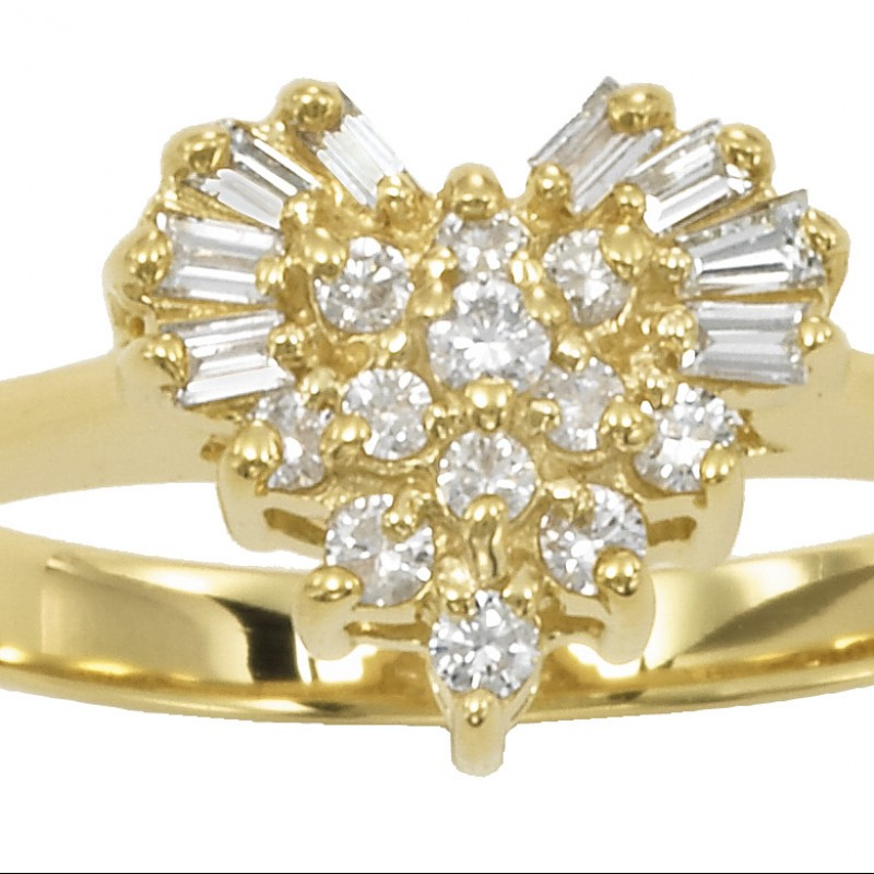14KT Yellow Gold Heart Diamond Ring