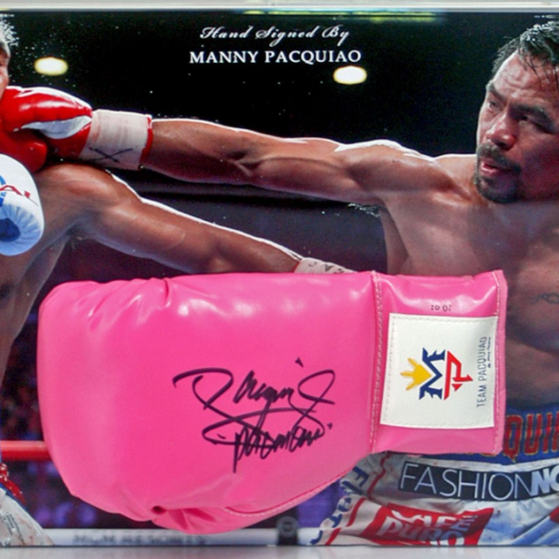 Manny Pacquiao Hand Signed Boxing Glove Presentation