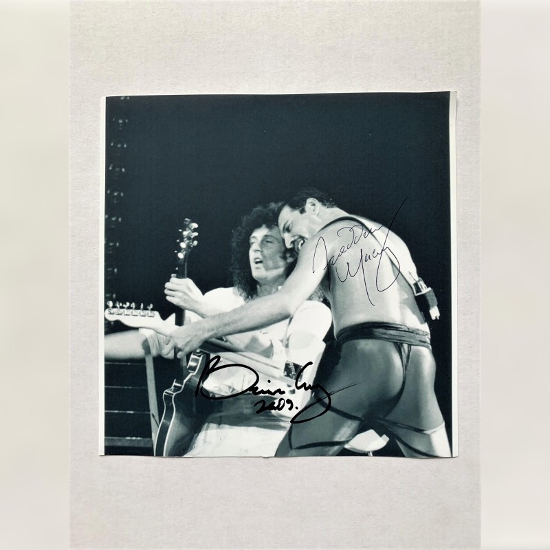 Photograph Signed by Freddie Mercury and Brian May - Wembley 1984