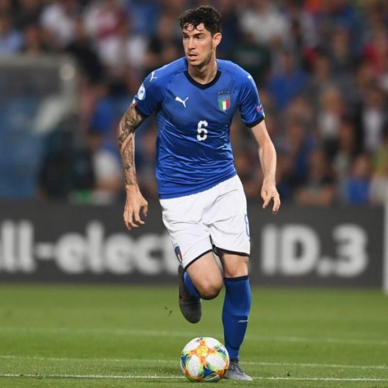 Bastoni's Italy Match Shirt, Euro U-21 2019