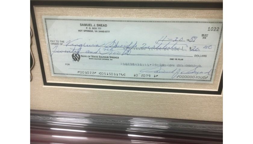 Sam Snead at the Masters Signed Check