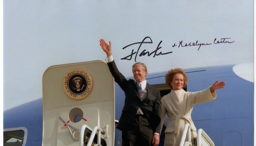 Former President Jimmy Carter jr. and Rosalyn Carter signed picture