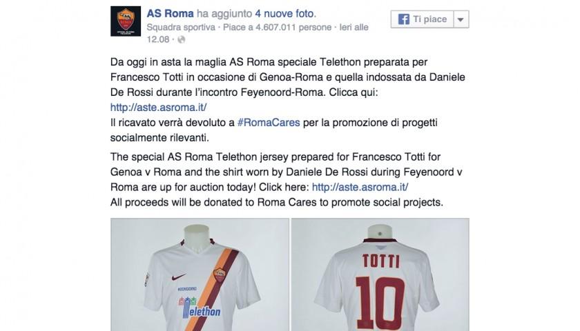 Totti's special 'Telethon #Ognigiorno' shirt, Genoa-Roma