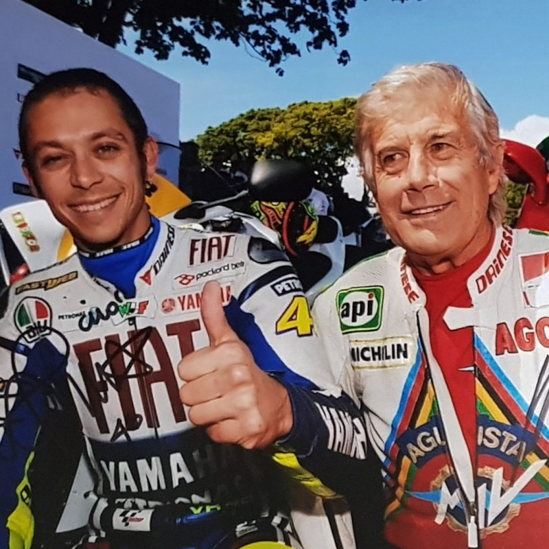 Photograph Signed by Giacomo Agostini and Valentino Rossi