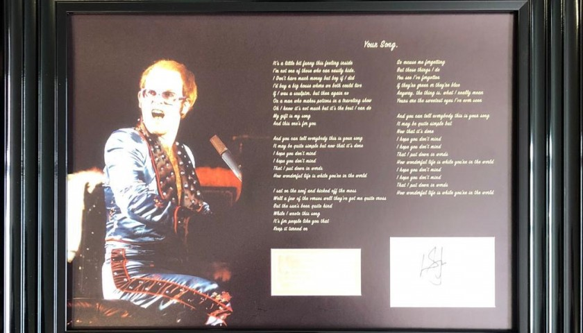 Elton John Framed and Hand-Signed Photo with Song