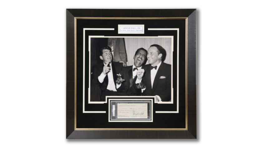 Rat Pack Photo with Signed Sammy Davis Jr. Check