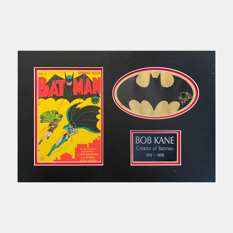 Batman Gold Foil Sicker Signed by Bob Kane (Co-creator of Batman)