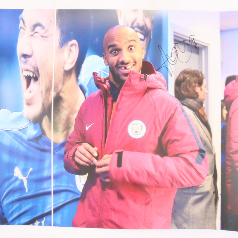 Delph Manchester City Signed and Graffitied Picture